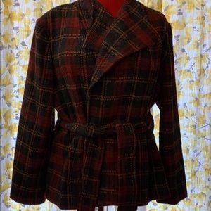 Short plaid unlined wrap coat